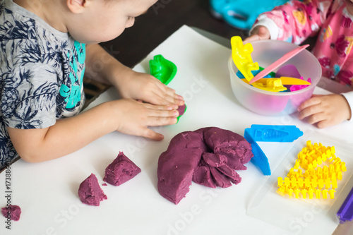 Stampa su Tela Art therapy for anxious children, cure for stress free, play colorful dough with