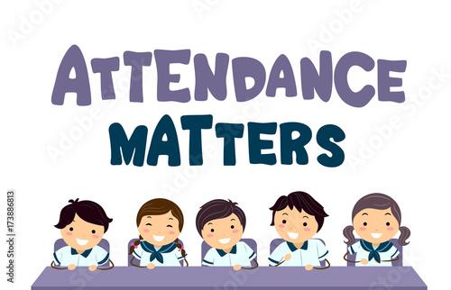 Stickman Kids Attendance Matters Illustration Canvas Print