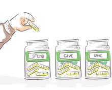 Hand Kid Money Jars Illustration