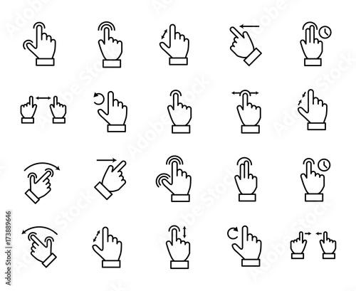 Premium set of gesture line icons.