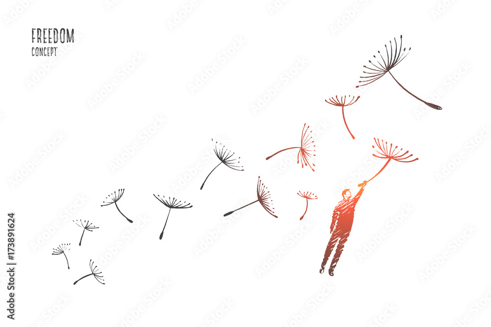 Fototapeta Freedom concept. Hand drawn man flying with dandelions. Person flying and free isolated vector illustration.