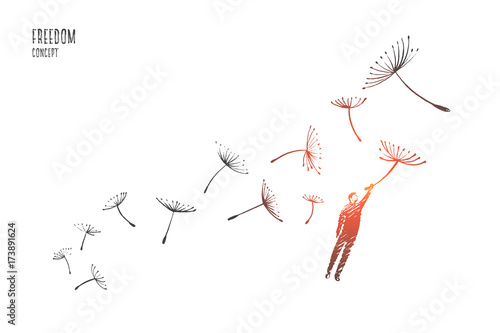 Freedom concept. Hand drawn man flying with dandelions. Person flying and free isolated vector illustration.