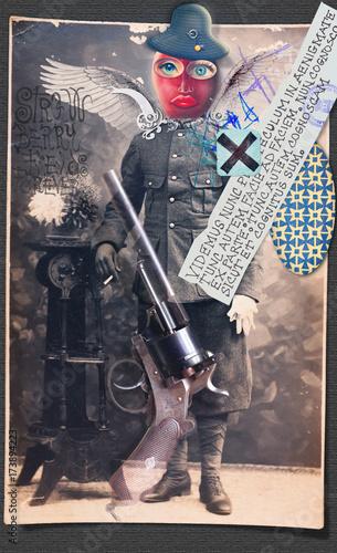 Papiers peints Imagination Halloween collage. Manoscritti e disegni macabri,surrealisti e misteriosi