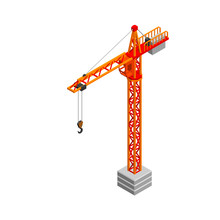 Tower Crane. Isolated On White...