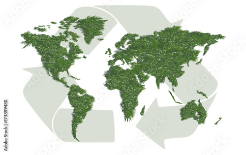 Foto op Canvas Wereldkaart Ecology world map with sign of recycling
