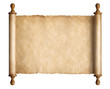 canvas print picture - Old scroll parchment with wooden handles isolated 3d illustration