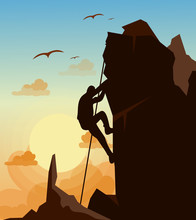 Vector Illustration Of Mountain Climbing Man On The Mountains Rock On Sunset Sky With Birds Background In Flat Style. Motivation Concept.