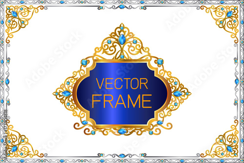 Gold Border With Blue Gemstones Design Frame Photo Template