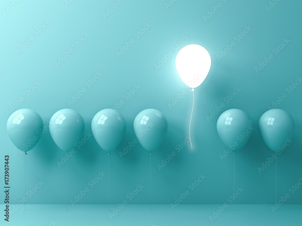 Fototapety, obrazy: Stand out from the crowd and different concept , One light balloon flying away from other green balloons on light green pastel color wall background with window reflections and shadows . 3D rendering.