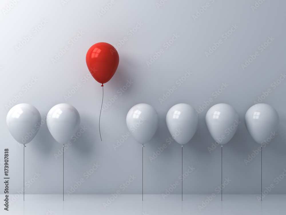Fototapeta Stand out from the crowd and different concept , One red balloon flying away from other white balloons on white wall background with window reflections and shadows . 3D rendering.
