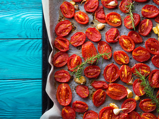 Red heirloom tomatoes baked with olive oil and garlic