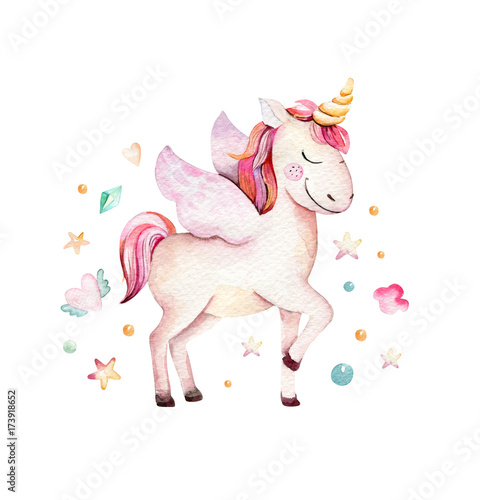 Fotomural Isolated cute watercolor unicorn clipart