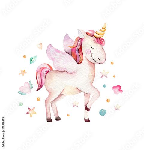 Isolated cute watercolor unicorn clipart Fototapeta