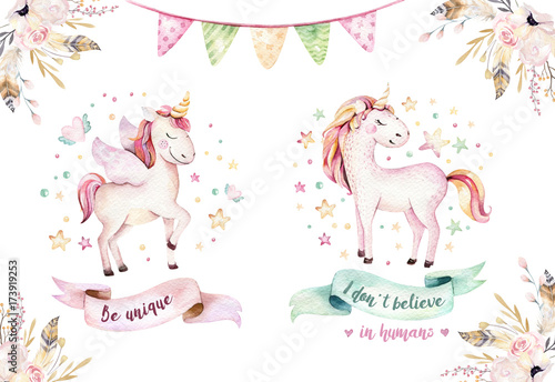 Isolated cute watercolor unicorn clipart Wallpaper Mural