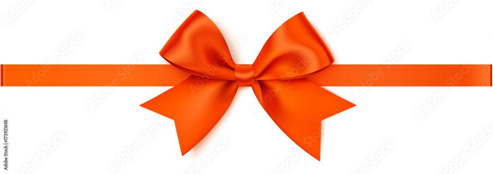 Fototapeta Vector orange bow with orange horizontal ribbon isolated on white background.