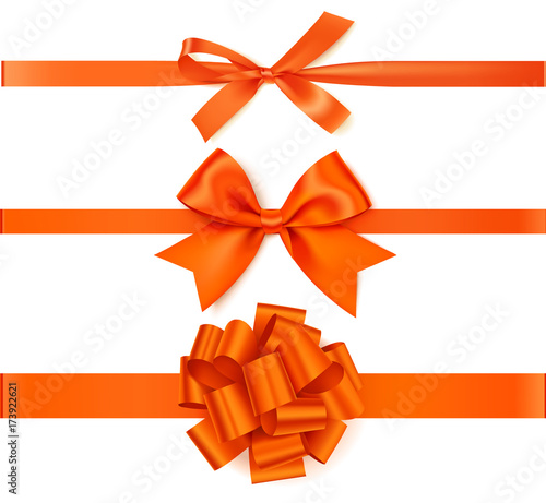 Set of beautiful autumn orange  bow with horizontal ribbon for page decoration or gift pack.