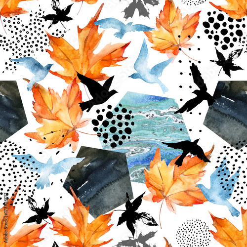 Poster Graphic Prints Autumn watercolor background: leaves, bird silhouettes, hexagons.