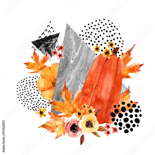 Recess Fitting Graphic Prints Hand drawn falling leaf, doodle, water color, scribble textures for fall design.
