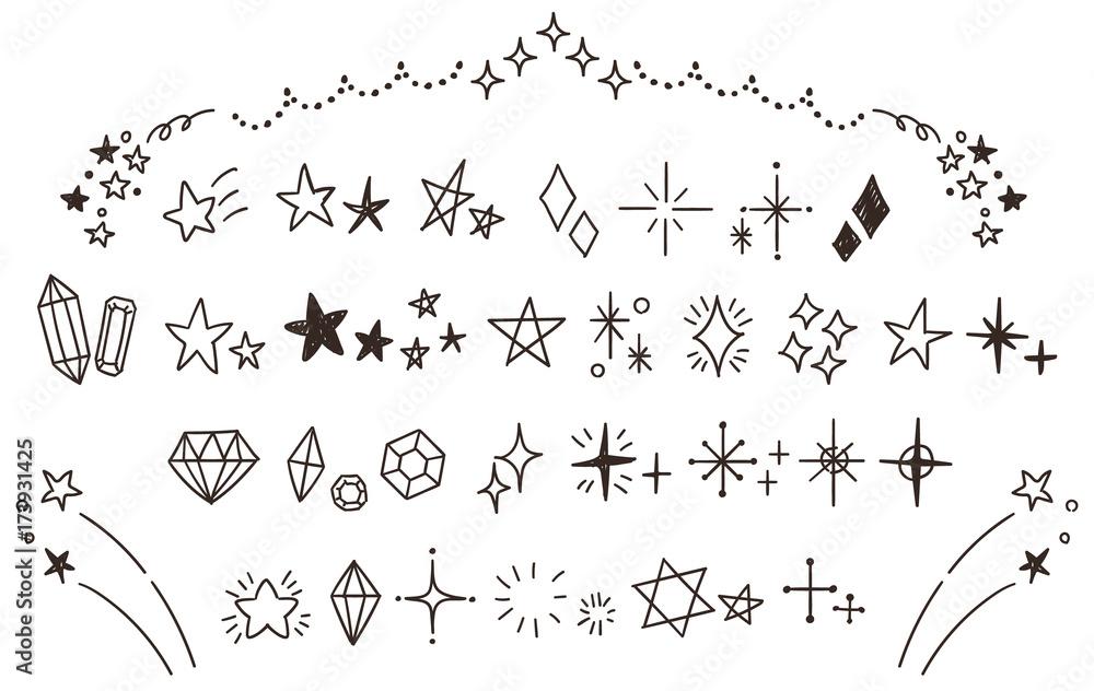 Fototapety, obrazy: キラキラ・星のかわいい手描きアイコンのセット(線画・透過)