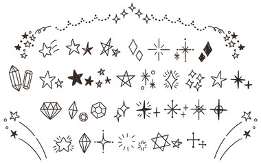 キラキラ・星のかわいい手描きアイコンのセット(線画・透過)