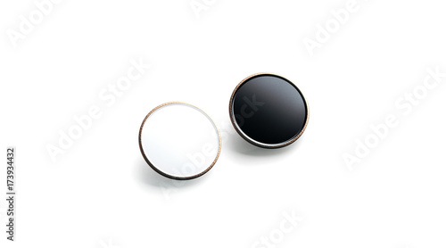 Blank Black And White Round Gold Lapel Badge Mock Up Side View 3d Rendering