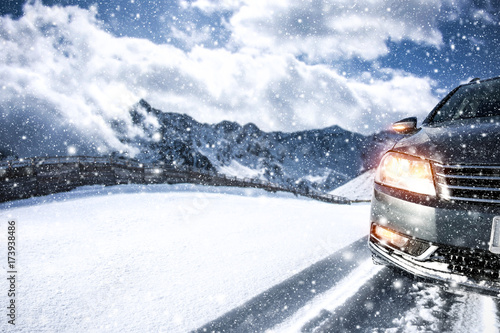 Zdjęcie XXL droga samochodowa i zimowa