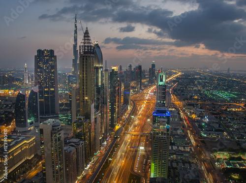 Fototapeta Noc pejzaż miejski Dubaj, Zjednoczone Emiraty Arabskie