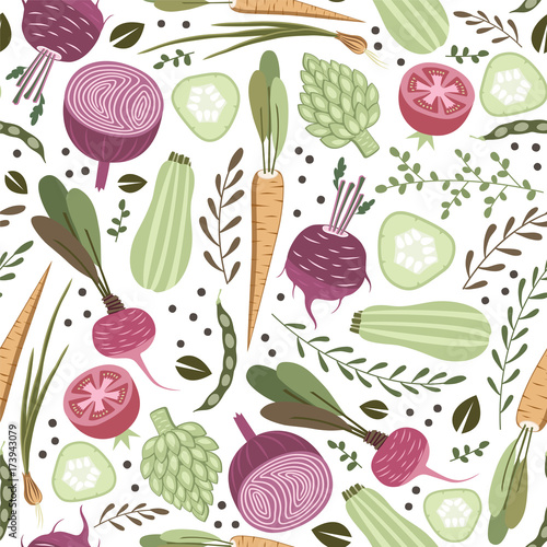 seamless pattern with healthy vegetables Fotobehang