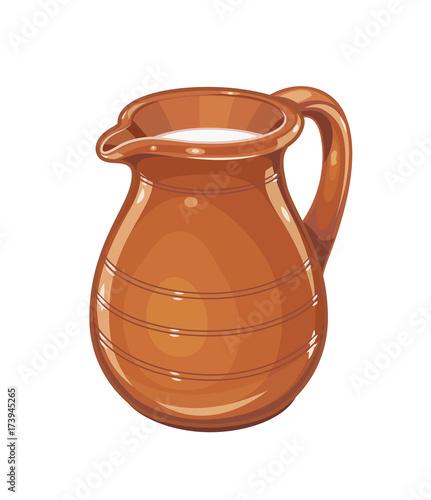 Fototapeta Ceramic jug with milk. Fictile tableware. Capacity for drink. obraz