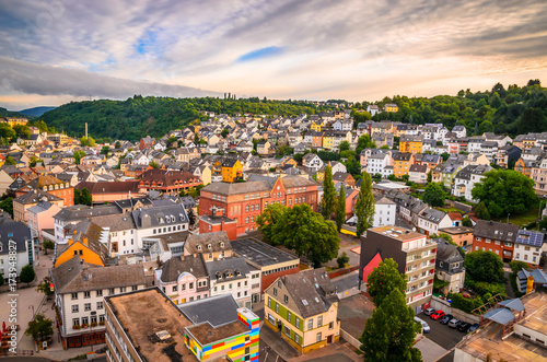 Panoramic aerial view of Idar-Oberstein at sunset, Germany Canvas-taulu