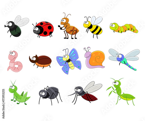 Big set of funny cartoon insects Poster Mural XXL