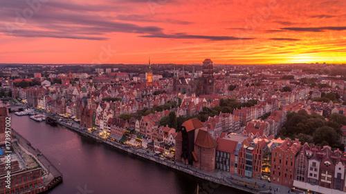 Obraz na dibondzie (fotoboard) Zachód słońca nad Gdańskiem
