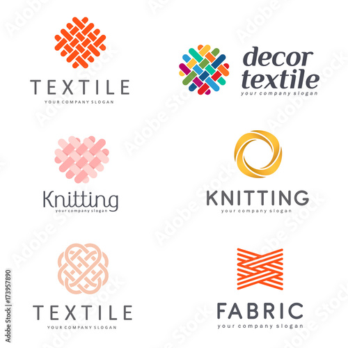 Obraz Set of Vector logo design for shop knitting, textile - fototapety do salonu