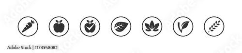 Photo Vegan bio icons set