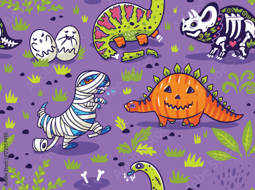 Dinosaurs in costumes for Halloween. Vector seamless pattern