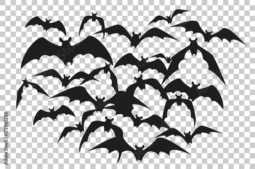 Black Silhouette Of Flock Of Bats Bunch Of Bats Isolated On