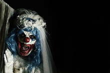 Scary Evil Clown In A Bride Dress