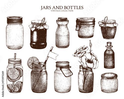 Fotografia, Obraz  Vector collection of ink hand drawn mason jars and bottles