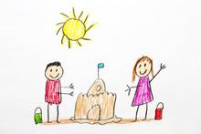 Kids Drawing Building Sand Cas...