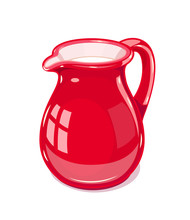 Red Ceramic Jug With Milk. Fic...