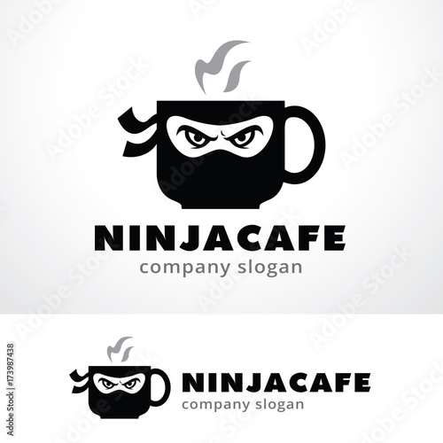 ninja cafe logo template design vector emblem design concept