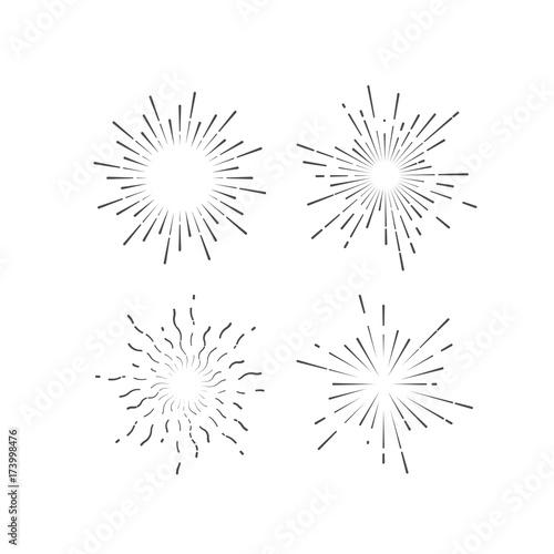Valokuva  Outline firework explosion shapes isolated on white.