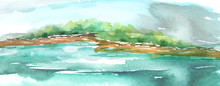Watercolor Landscape, River Bank, Island, Silhouette Of Trees, Bushes. Summer Landscape On White Isolated Background. A Blot, A Splash, Resembles A Natural Landscape.  Blue Color.