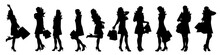 Vector Silhouette Of Woman On ...