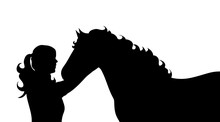 Vector Silhouette Of Woman Wit...