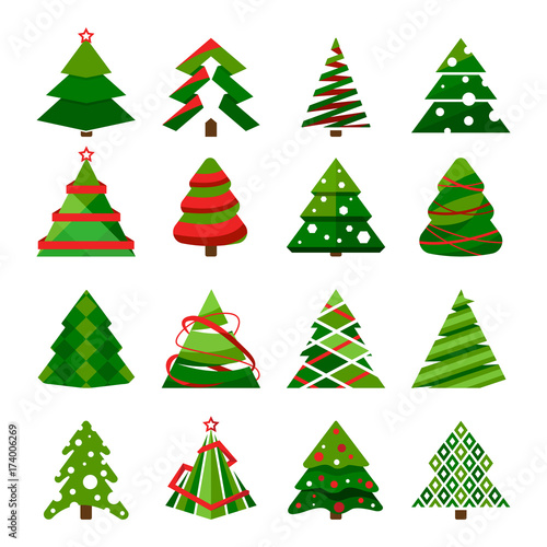 Valokuvatapetti Christmas tree in different styles