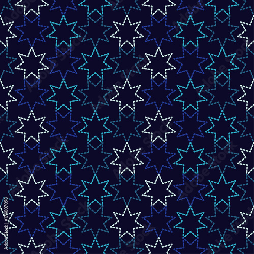 Cotton fabric Seamless background with decorative stars. Dots texture. Textile rapport.