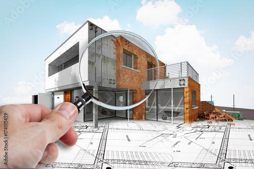 Fotografía  Expertise dans chantier de construction d'une maison d'architecte