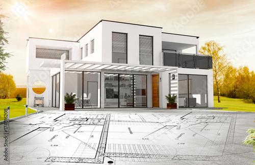 Esquisse De Maison Du0027architecte Avec Plan De Construction