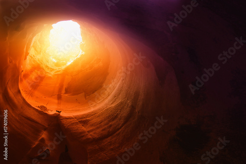 Abstract and surrealistic image of cave with light Canvas Print